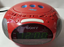 SONY PSYC ICF-CD831 Red Alarm Clock CD Radio Dream Machine Tested & Works