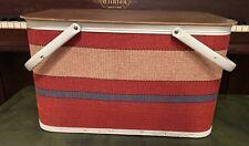 Vtg Redmon Picnic Basket vintage hard wood, wicker, metal handles Red white blue