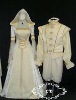 medieval wedding dress, ivory celtic gown in crushed velvet and wedding brocade.
