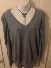 New Retro Rockabilly Gray Shirred Shoulder Long Sleeve Sweater Plus Size 2x