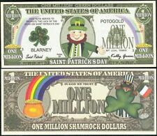 LEPRECHAUN SAINT PATRICK'S DAY MILLION DOLLAR NOVELTY BILL - Lot of 2 BILLS
