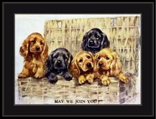 English Print Cocker Spaniel Dog Puppy Dogs Puppies Vintage Art Picture Poster