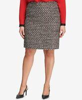 Women's CALVIN KLEIN Red Tweed Above The Knee Pencil Work Skirt Size 16W $99
