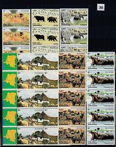 OG 5X ZAIRE 1982 - MNH - WILD ANIMALS - NATURE - ELEPHANTS - LIONS