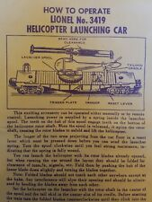 LIONEL 3419 HELICOPTER CAR INSTRUCTIONS DATED 10/59