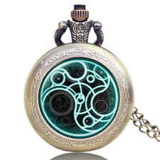 Doctor Who Time Lord Seal Quartz Pocket Watch Necklace Retro Vintage Mens Gift