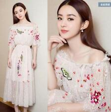 Womens Floral Lace Dress Embroidery Half Sleeves Chic Dresses Long Flower Fairy