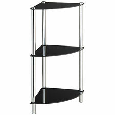 VonHaus 3-Tier Corner Table / Corner Shelves with Tempered Glass & Chrome Legs