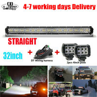 32inch off road led light bar led lights 12v + 2x Pods led work light + harness