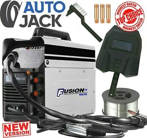 Gasless MIG Welder 130 Amp NON Live Torch Flux No Gas Welding Machine Autojack