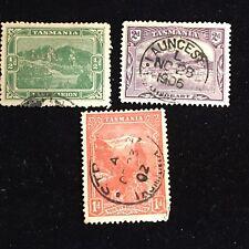 1900-1911 Tasmania Postage Stamps, Used, Lot of 3