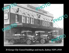 OLD LARGE HISTORIC PHOTO OF St GEORGE COUNCIL BUILDINGS & TRUCKS SYDNEY NSW 1930