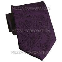 New Vesuvio Napoli polyester Men's necktie paisley formal prom Dark Purple