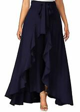 Women's Ruffle Rayon Palazzo Skirt Pants For Party Wear Waist Wide (Navy Blue)