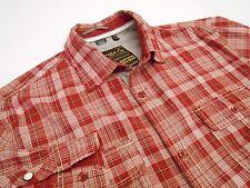 Buffalo David Bitton Men's Cotton Casual Sport Unique Shirt Red Plaid Size M