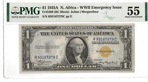 1935A $1 Silver Certificate North Africa - FR.2306 - PMG AU 55  - WW II Issue