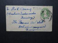 India 1922 Stationery Cover 1/2 Anna to Rangoon (I) - Z11696