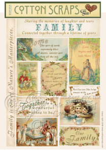 FAMILY-Crafty Secrets Heartwarming Vintage Cotton Scraps Ephemera Cut Outs-ATC