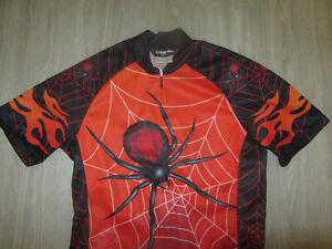 Pearl Izumi Red Black Spider Web Black Widow Cycling Bike Bicycle Jersey XS Rare
