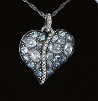 Brighton Trust Your Journey Heart Necklace Blue Silver Swarovski Crystal NWPOUCH