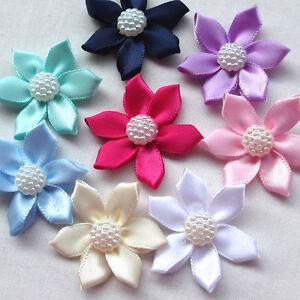 "Upick 10/50pcs Ribbon Flowers Bows W/Rhinestone Appliques Craft Wedding 1 1/2"""