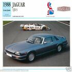 JAGUAR XJR-S 1988 à nos jours CAR Great Britain GRANDE BRETAGNE CARTE CARD FICHE