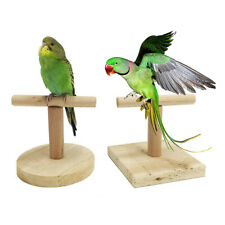 IG_ Parrot Bird Wood Stand Activity Center Perch Play Training Toy Rack Portable