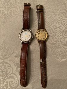 Vintage Watch Bundle Leather Bands Both Need Work Polo Ralph Lauren, Guess Jeans