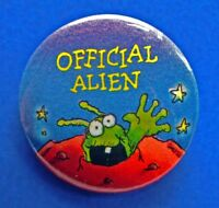Hallmark BUTTON PIN Halloween Vintage OFFICIAL Green ALIEN Planet Star Holiday