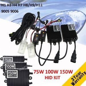 75W 100W 150W H1 H3 H4 H7 H8 H11 9005/6 Car HID Xenon Headlight Bulb Ballast Kit