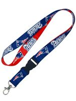 New England Patriots Double-Sided Lanyard Keychain Detachable Clip Red Blue NFL