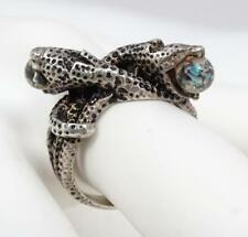 Vintage Sterling Coiled Snakes Opal Glass Ring Size 7.25