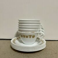 Gold Butterfly Pattern Corelle by Corning Vitrelle China Pieces 6 Cups & Saucers