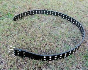 Mens Womens Double Eyelet Studded Faux PU Leather Belt Tactical Hunting Biker