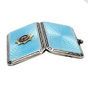 FABERGE KФ Imperial Russian Gem Silver Enamel Guilloche Snuff Box Cigarette Case