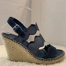 Marc Fisher Size 9 M Blue  Wavy Strap Leather Espadrille Wedge Sandal Womens
