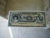 MEXICO 5 PESOS  EL BANCO DE SONORA -HERMOSILLO -  one note from original pack