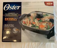 "Oster Electric Skillet DuraCeramic 12"" With Pour & Strain Lid - New"