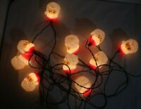 Vintage Set of 10 String Lights Strand w/ Plastic/Blow Mold Santa Head Covers