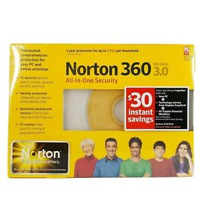 Norton 360 Version 3.0 All-In-One Security 3PCs Per House Brand New Sealed
