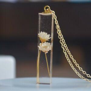 Daisy White Real Flower Cube Resin Pendant 18k Gold Plated Necklace Women Boho