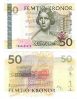 SWEDEN 50 Kronor (2011) P-64c aUNC Banknote Paper Money