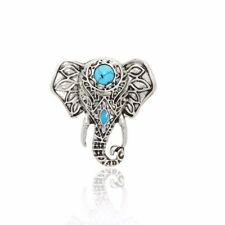 Adjustable Elephant Ring Turquoise and Antique Silver Free Shipping