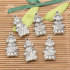 10pcs tibetan silver color crafted cute doll design  charms EF2581