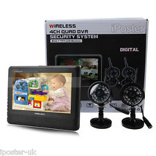 "7"" TFT Digital 2.4G Wireless Cameras Audio Video Baby Monitors 4CH Quad DVR"