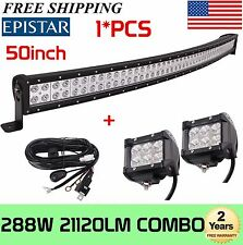 50Inch 288W Curved Led Light Bar Spot Flood Driving Lamp+2X4Inch 18W+Wiring