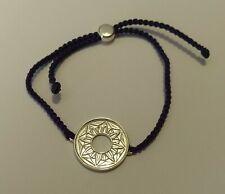 Hallmarked Solid Silver Sun Flower Design Purple  Cord Bracelet   Cred