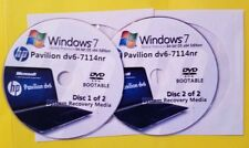 HP Pavilion dv6-7114nr Factory Recovery Media 2-Discs / Windows 7 Home 64-bit