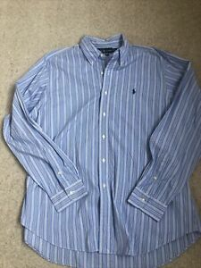Ralph Lauren X Large Classic Fit Striped Shirt Pale Blue