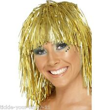 Womens 70's Cyber Tinsel Wig Gold Disco Fancy Dress Night Fever Pop Star Colour